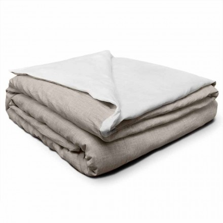 Double Face Linen Duvet Cover in Cream White and Natural Made in Italy - Blessy