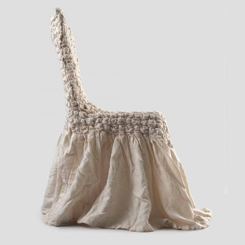 Chair Cover with Elegant Backrest for Living Room in Embroidered Linen - Panteo