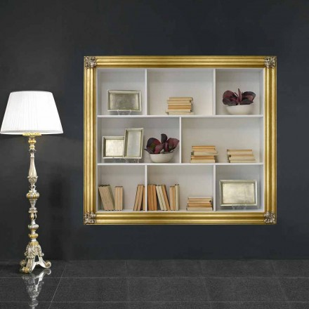 Wall-mounted bookcase in geloton wood produced in Italy Giulio