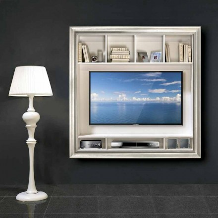Mirko wall-mounted plasma TV stand, in wood, produced in Italy
