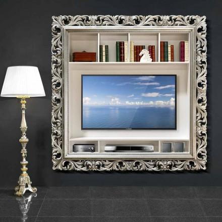 TV wall frame handmade of wood, produced 100 % in Italy, Mario