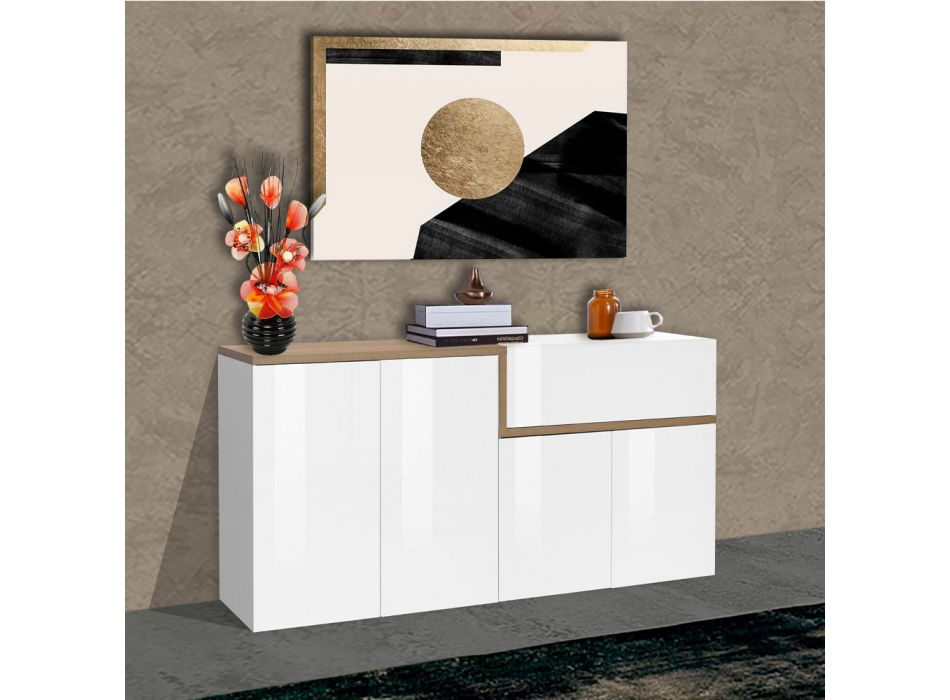 4-Door Sideboard and Drawer in White Wood and Maple or Slate - Tiscali