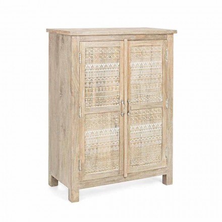 High Sideboard in Hand Decorated Wood with Brass Handles Homemotion - Zotto