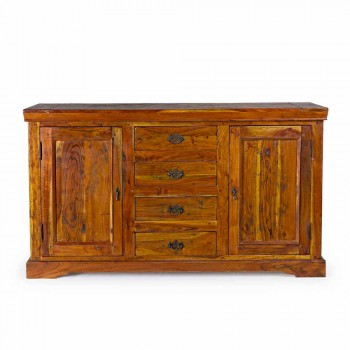 Classic Sideboard in Solid Acacia Wood Rustic and Antique Finish - Enia