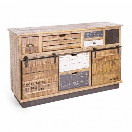 Sideboard with Structure in Mango Wood and Steel in Industrial Style - Vidia