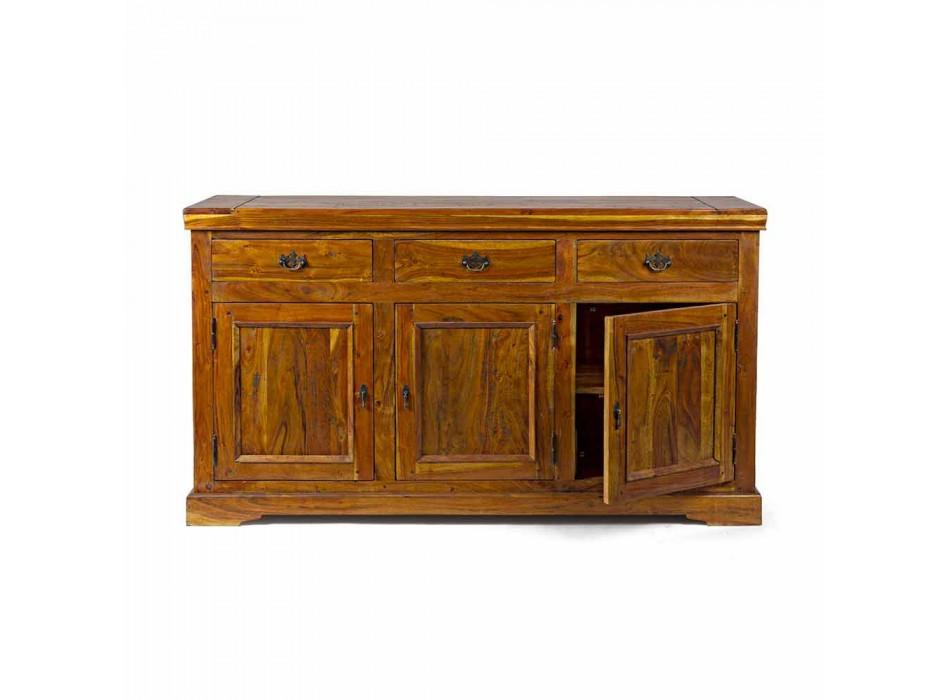 Classic Design Sideboard in Solid Acacia Wood Rustic Finish - Malaya