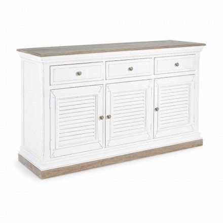 Classic Design Sideboard in Mango Wood with 3 Doors and 3 Drawers - Baffy