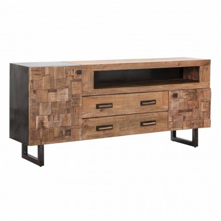 Design Sideboard in Acacia Wood and Iron with 2 Doors and 2 Drawers - Dalya