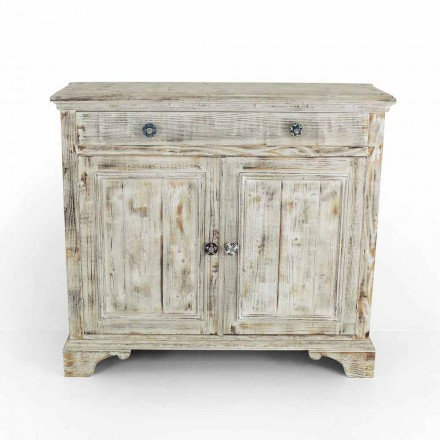 Solid Spruce Wood Sideboard with Internal Shelves Made in Italy - Pierrot