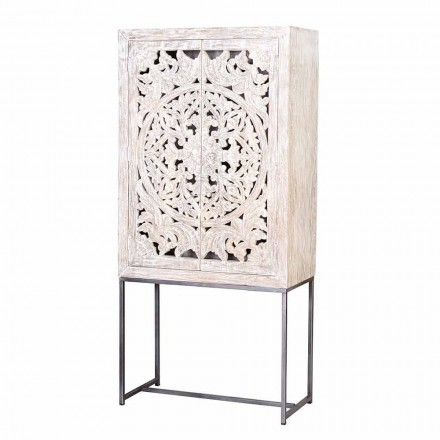 Sideboard in White Mango Wood with Hand Decorated Design Doors - Bertoldo