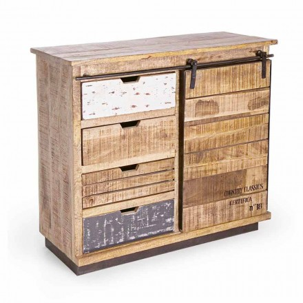 Sideboard in Wood and Steel with Door and 4 Drawers Industrial Style - Renza