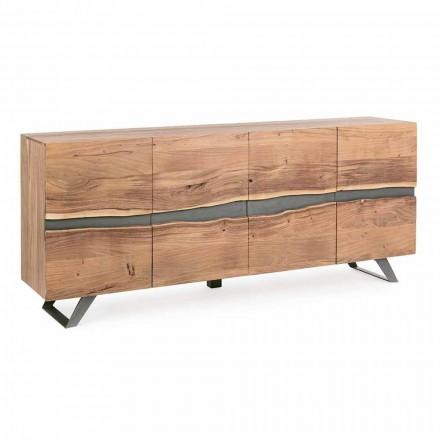 Sideboard in Wood and Painted Steel Modern Design Homemotion - Silvia