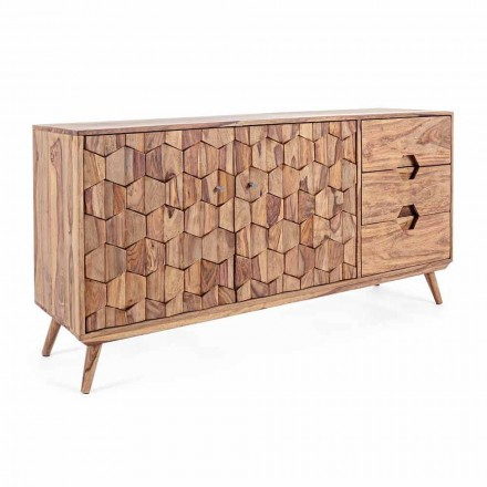 Sideboard in Natural Finish Wood with Doors and Drawers Homemotion - Ventador