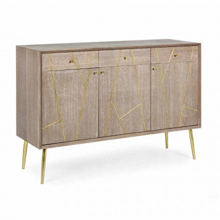 Sideboard in Teak Wood with Vintage Style Gold Steel Inserts - Mayra