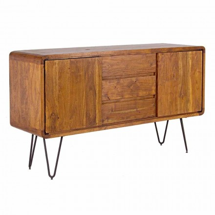 Sideboard in Vintage Style with Wooden Structure and Steel Feet - Alva