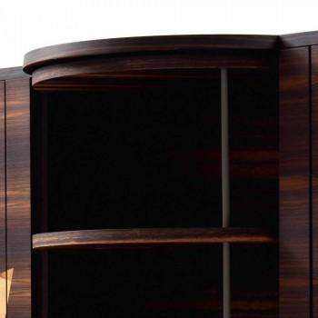 Grilli Zarafa modern 3-door sideboard in walnut and ebony wood