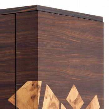 Grilli Zarafa modern 3-door sideboard in walnut and ebony wood
