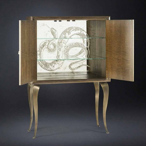 Modern sideboard with 2 doors in solid wood and Joy aniline leather