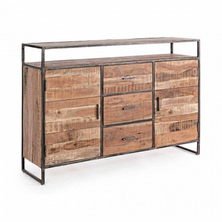 Modern Sideboard with Structure in Acacia Wood and Steel Homemotion - Posta