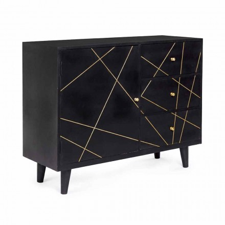 Modern Sideboard with Mango Wood Structure and Brass Details - Anira