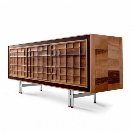 Modern design sideboard Anna with 3 doors in solid wood, made in Italy