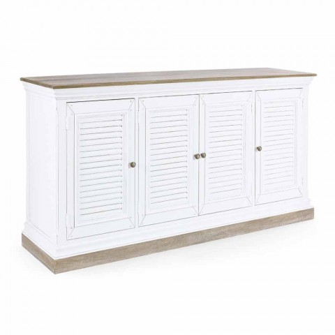 Classic Style Sideboard in Mango Wood with 4 Doors and Cast Iron Knobs - Baffy