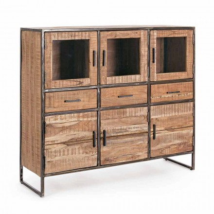 Industrial Style Sideboard in Acacia Wood and Steel Homemotion - Zompo