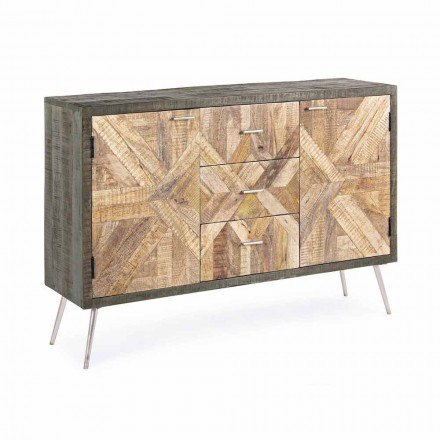 Vintage Style Sideboard with Wood Structure and Steel Details - Adiva