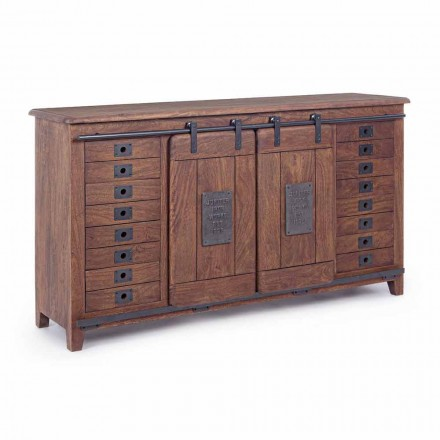 Vintage Style Sideboard in Wood and Mdf with Homemotion Steel Inserts - Pablo