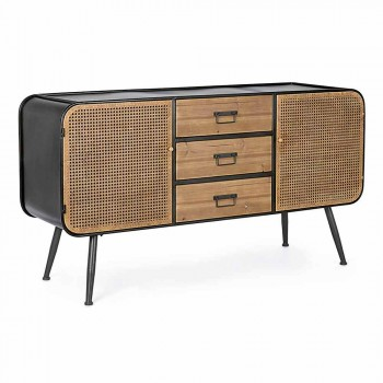 Vintage Sideboard with Rattan Effect Doors and Drawers in Fir Wood - Freddy