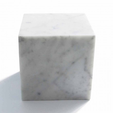 Cube Design Paperweight in Satin White Carrara Marble Made in Italy - Qubo