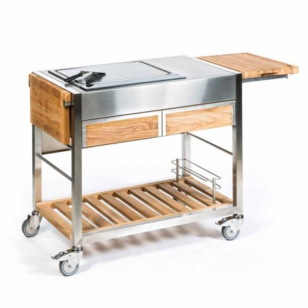 Outdoor Kitchen on Wheels in Steel and Wood with Teppanyaki - Buoncalliope