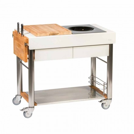 Outdoor Design Steel and Wood Kitchen on Wheels - Calliope