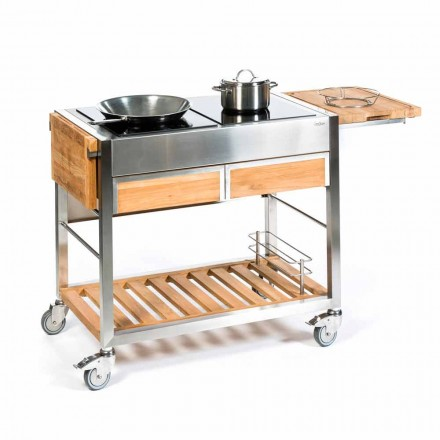 Modern Outdoor Kitchen in Stainless Steel and Teak Wood on Wheels - Buoncalliope
