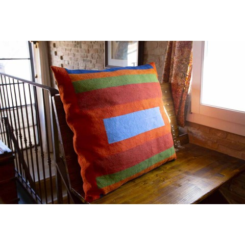 Hand Painted Hemp Cushion Unique Piece Italian Art - Brands