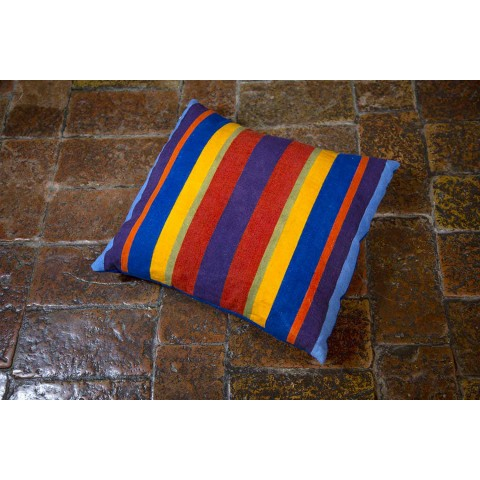 Cushion of Italian Art in Hemp Painted and Hand Sewn Unique Piece - Brands