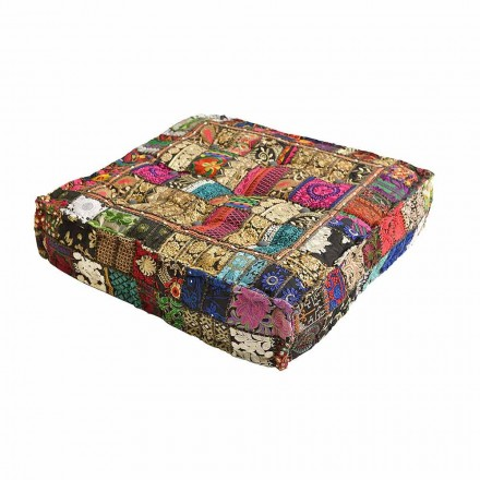 Pouf Cushion Upholstered and Covered with Handmade Patchwork - Pericleo