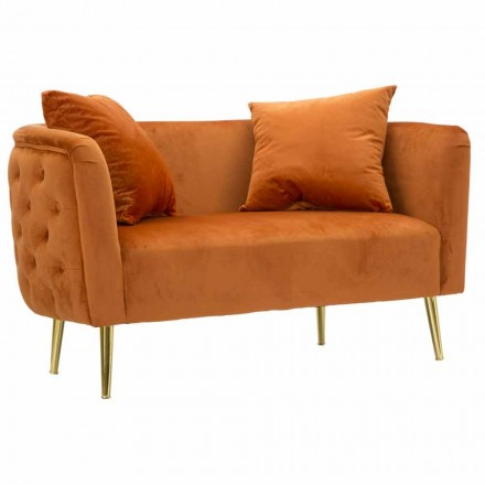 Two Seater Sofa in Design Velvet, Structure in Wood and Iron - Renita