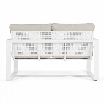 2 Seater Outdoor Sofa in Aluminum with Fabric Cushions - Mirea