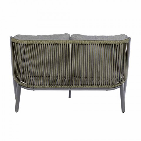 2 Seater Outdoor Sofa in Aluminum and Rope with Homemotion Cushions - Gillian