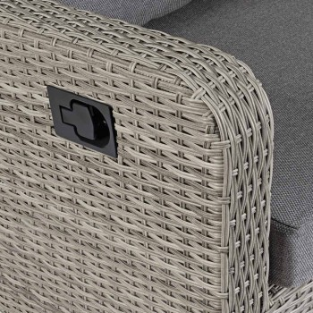 2 Seater Outdoor Sofa in Woven Fiber with Fabric Cushions - Claire