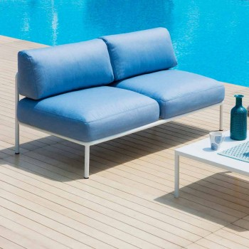 2 Seater Outdoor Sofa in Metal and Fabric with Cushions Made in Italy - Cola