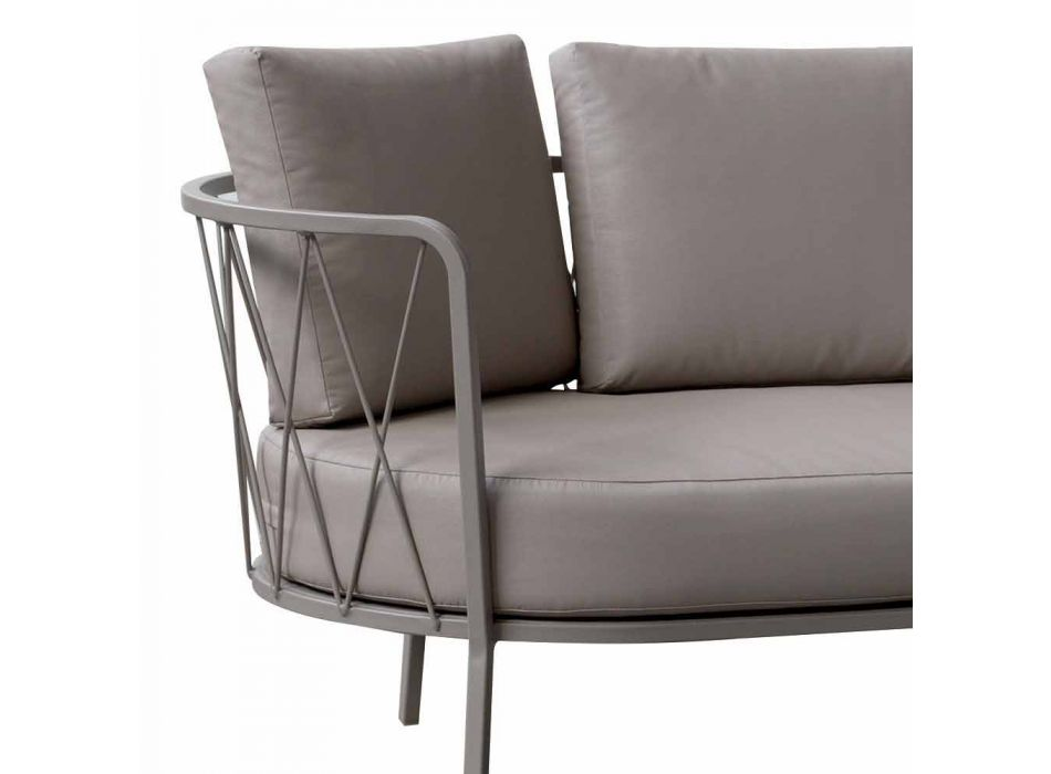 2 Seater Outdoor Sofa in Metal and Fabric with Cushions Made in Italy - Olma