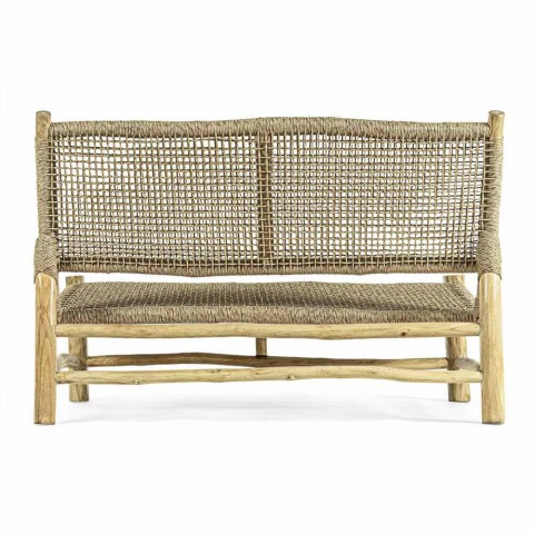 2 Seater Outdoor Sofa in Teak Branches and Synthetic Fiber - Tecno