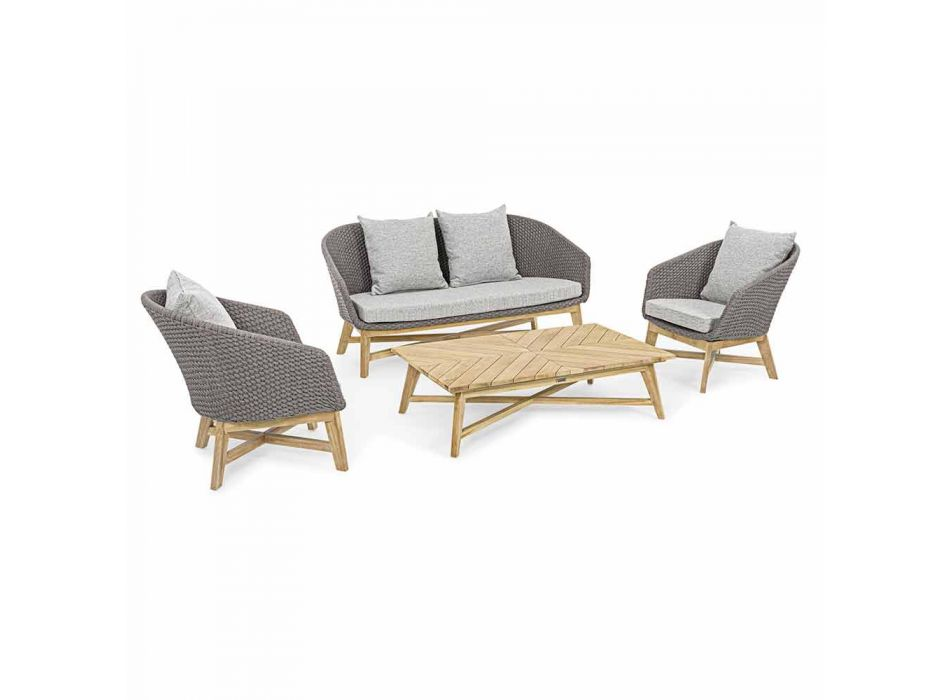 2 Seater Outdoor Sofa in Fabric with Teak Structure, Homemotion - Azeno