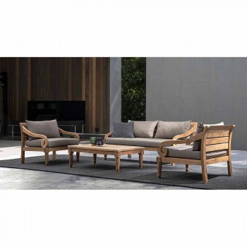 2 Seater Garden Sofa in Teak with Removable Cushions, Homemotion - Harry