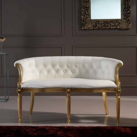 Italian 2 seater white leather sofa with a classic design Casanova