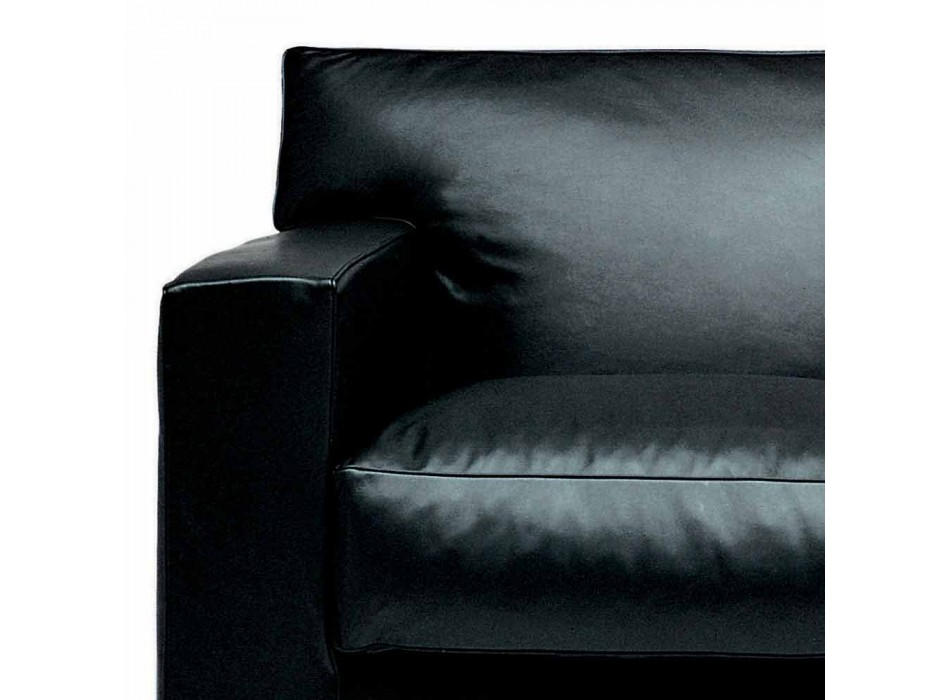 2 Seater Leather Sofa with Walnut Wood Feet Made in Italy - Alessandria