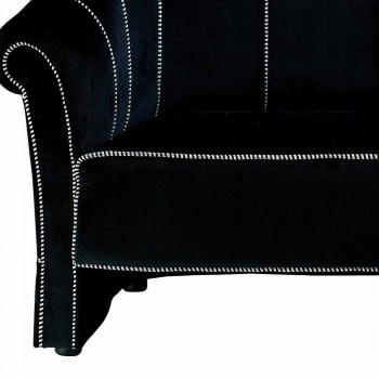 2 Seater Sofa in Black Velvet with Contrast Stitching Made in Italy - Caster