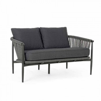 2 Seater Sofa for Modern Garden in Aluminum and Synthetic Fiber - Salamander